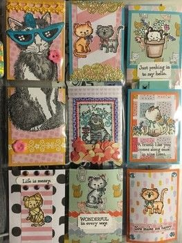 Pocket Letter for a Cat Fan .  Make an artist trading card in under 180 minutes using printed paper, rubber stamp, and cardstock. Inspired by gifts and cats. Creation posted by Veronica N.  in the Papercraft section Difficulty: Simple. Cost: 3/5.