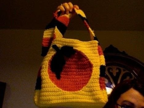 Sweet and Sunny .  Stitch a knit or crochet bag in under 120 minutes by yarncrafting with worsted weight yarn, crochet hook, and needle. Inspired by orange. Creation posted by Melissa Beth.  in the Yarncraft section Difficulty: Simple. Cost: Cheap.
