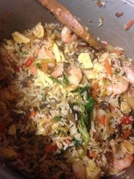 An easy, tasty Asian recipe that serves 2-3 people. .  Free tutorial with pictures on how to cook a fried rice dish in under 45 minutes by cooking with eggs, rice, and onion. Recipe posted by Shirin L.  in the Recipes section Difficulty: Easy. Cost: Cheap. Steps: 7