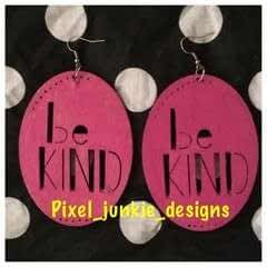 """Be Kind"" Wood Earrings"