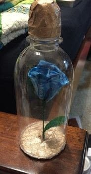 """Just like """"Beauty and the beast"""".. but blue .  Fold an origami rose in under 90 minutes using scissors, paper, and acrylic paint. Inspired by disney. Creation posted by Kinhime Dragon.  in the Decorating section Difficulty: Simple. Cost: No cost."""