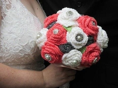 A bouquet that will last a life time! .  Make a crochet by yarncrafting and crocheting with yarn, hot glue, and brooches. Inspired by weddings and flowers. Creation posted by Breanna S.  in the Yarncraft section Difficulty: 3/5. Cost: 3/5.