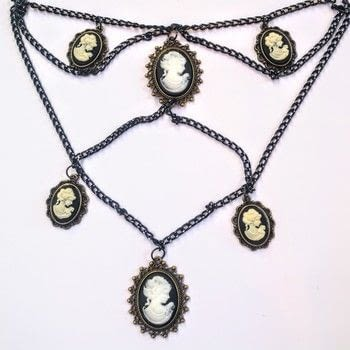 Make a Victorian inspired cascading chain cameo necklace! .  Free tutorial with pictures on how to make a cameo in under 60 minutes by jewelrymaking with chain, jump rings, and pendant. How To posted by Cat Morley.  in the Jewelry section Difficulty: Simple. Cost: Cheap. Steps: 5