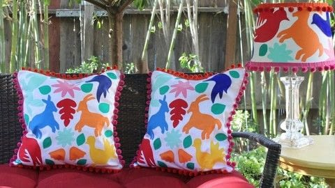 Make your own Otomi Fabric! .  Free tutorial with pictures on how to make a pillow/cushion in under 120 minutes by decorating, sewing, not sewing, and machine sewing with e-6000 stitchless glue, cotton fabric, and pom pom trim. How To posted by Mark Montano.  in the Decorating section Difficulty: 3/5. Cost: Cheap. Steps: 3