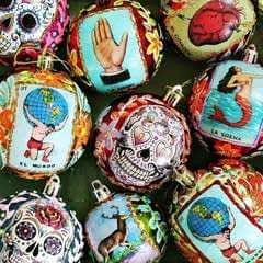 Sugar Skull And Loteria Ornaments