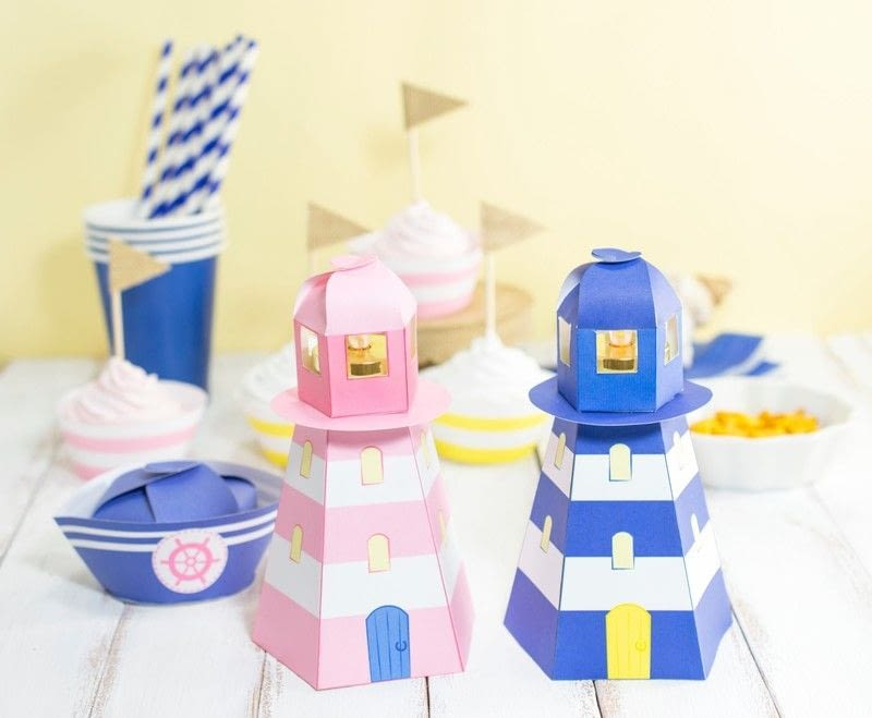 Diy printable lighthouse tealight holder how to make a for 3d paper lighthouse template