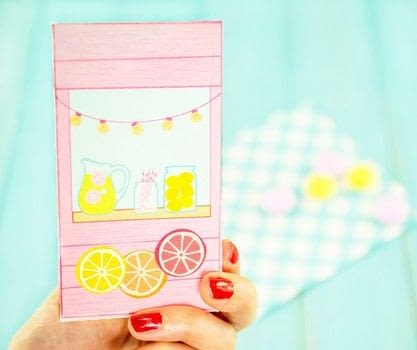 Easy-Peasy Printable Lemonade Stand Favor Box! .  Free tutorial with pictures on how to make a paper box in under 15 minutes Inspired by gifts, summer holidays, and candy. How To posted by Alle C.  in the Papercraft section Difficulty: Easy. Cost: No cost. Steps: 4