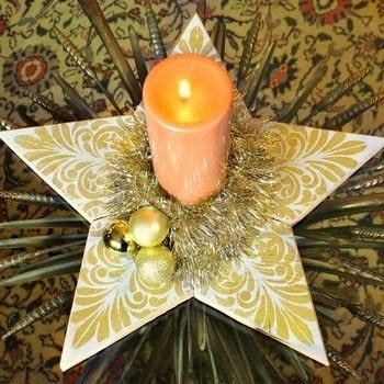 Use scrap wood to make a beautiful 5 point star! .  Free tutorial with pictures on how to make a Christmas decoration in under 120 minutes by creating, stencilling, and woodworking with wood, 5 point star pattern, and e-6000 glue. How To posted by Mark Montano.  in the Home + DIY section Difficulty: Simple. Cost: Absolutley free. Steps: 3