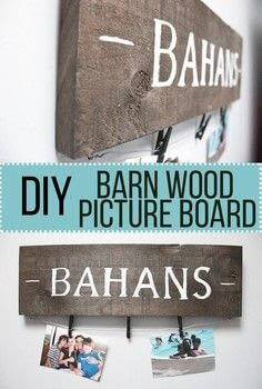 DIY Barn Wood Picture Board .  Free tutorial with pictures on how to make a plaque / sign in under 120 minutes by creating, constructing, and stencilling with wooden board, wood stain, and paint. Inspired by homeware. How To posted by Nikki B.  in the Home + DIY section Difficulty: Easy. Cost: Cheap. Steps: 1