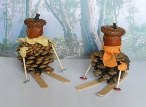 A quick way to decorate for winter .  Make a Christmas decoration in under 30 minutes by decorating with pine cones, acorn, and toothpick. Creation posted by campaspe.  in the Decorating section Difficulty: Easy. Cost: No cost.