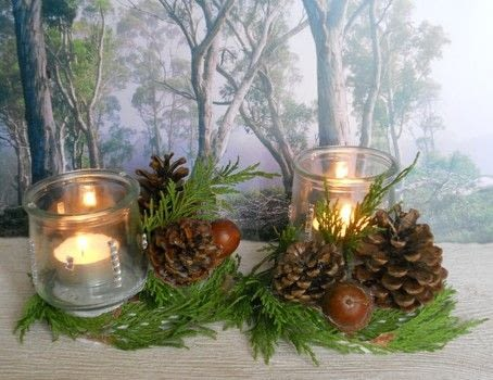 A winter tea light project .  Make a votive / candle holder in under 25 minutes by decorating with glue gun, branches, and lights. Creation posted by campaspe.  in the Decorating section Difficulty: Easy. Cost: No cost.