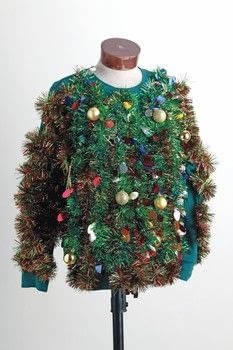 Ugly Christmas Sweater Party .  Free tutorial with pictures on how to make a sweater or cardigan in under 60 minutes by embellishing with ornament, candy  canes, and glue gun. Inspired by christmas. How To posted by GMC Group.  in the Decorating section Difficulty: Simple. Cost: Cheap. Steps: 3