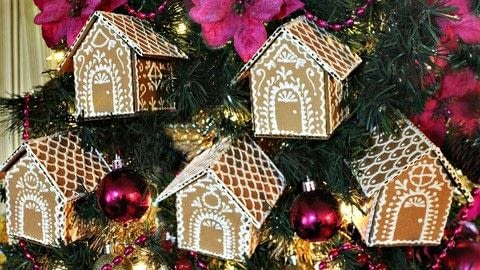 Cardboard Gingerbread House Ornaments .  Free tutorial with pictures on how to make an ornament in under 60 minutes by drawing, embellishing, and papercrafting with glue gun, allure dimensional design adhesive paint, and cardboard. How To posted by Mark Montano.  in the Papercraft section Difficulty: Easy. Cost: Absolutley free. Steps: 5