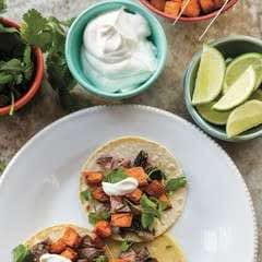 Carnes Asada Tacos With Roasted Sweet Potatoes & Lime Crema