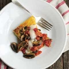 Roasted Mushrooms & Tomatoes On Polenta Slices