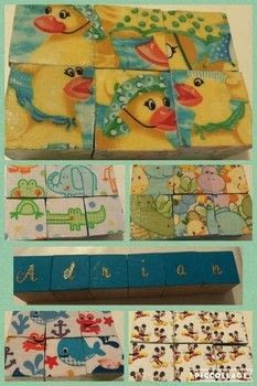 Make cute fabric baby blocks .  Make a photo block in under 60 minutes by decorating and decoupaging with decoupage glue, foam paintbrush, and wooden block. Creation posted by Elizabeth B.  in the Art section Difficulty: Easy. Cost: Cheap.