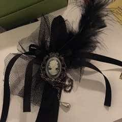 Gothic Ribbon & Feather Hair Band