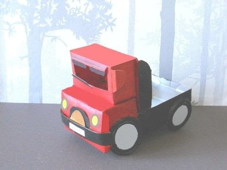 An easy homemade truck from a brick .  Free tutorial with pictures on how to make a papercraft in under 45 minutes by papercrafting with milk, glue, and paints. Inspired by toys. How To posted by campaspe.  in the Papercraft section Difficulty: Simple. Cost: No cost. Steps: 3