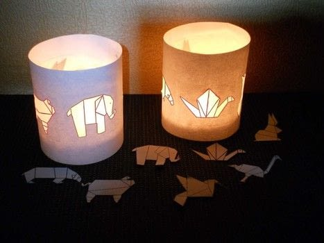 Original tea lights .  Free tutorial with pictures on how to make a decorative light in under 20 minutes using glass jar, paper, and tea lights. How To posted by campaspe.  in the Decorating section Difficulty: Easy. Cost: No cost. Steps: 3