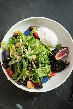 Make a Nicoise Salad with Elm City Social in New Haven, Connecticut .  Free tutorial with pictures on how to make a salad in under 15 minutes by cooking with mayonnaise, dijon mustard, and red wine vinegar. Recipe posted by A Bite To Eat.  in the Recipes section Difficulty: Simple. Cost: 3/5. Steps: 1