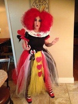 OFF WITH YOUR HEAD!!!!!! .  Make an chracter costume by hand sewing, machine sewing, and applying makeup with shoes, tulle, and tights. Inspired by halloween and queen of hearts. Creation posted by Krafty Kokatie.  in the Other section Difficulty: Simple. Cost: 3/5.