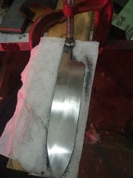 Pattern welded kitchen knife .  Make a metal model by creating, etching, fusing, metalworking, and  with steel , hammer, and forge. Creation posted by Glittering Edge.  in the Art section Difficulty: 5/5. Cost: 4/5.