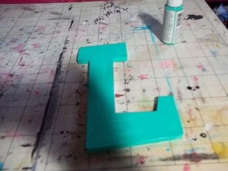 Wood, mod podge, paint, letters .  Free tutorial with pictures on how to applique  in under 60 minutes using wooden letter, decoupage glue, and cotton. How To posted by Annap72.  in the Decorating section Difficulty: 3/5. Cost: 3/5. Steps: 7