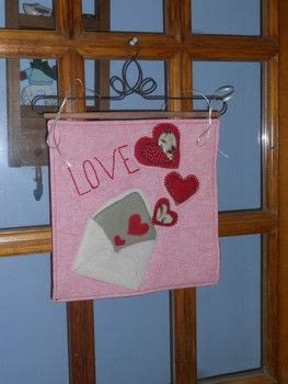 Love wool applique door hanger .  Make a hanging by needleworking, embroidering, and sewing with wool, cotton cloth, and quilt batting. Creation posted by Cheryl H.  in the Needlework section Difficulty: Simple. Cost: Cheap.
