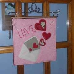 February Wool Applique Door Hanger