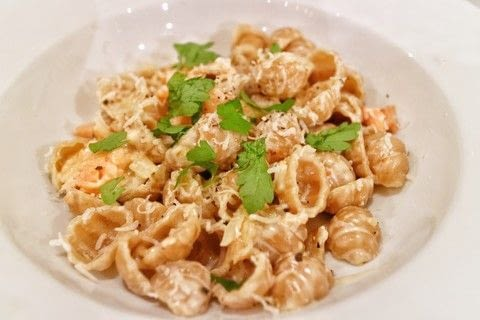 Smoked salmon pasta in a creamy parmesan vodka sauce .  Free tutorial with pictures on how to cook pasta in under 20 minutes by cooking with shell pasta, onion, and garlic. Recipe posted by Cat Morley.  in the Recipes section Difficulty: Simple. Cost: Cheap. Steps: 6