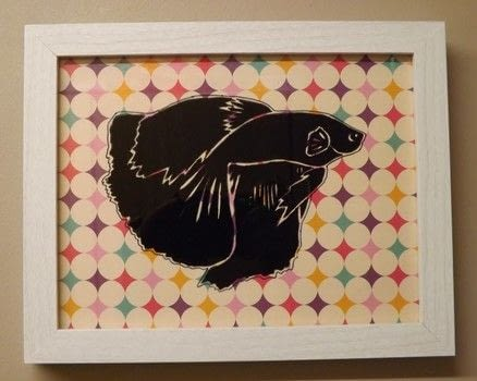 A Pet Picture .  Free tutorial with pictures on how to make silhouette art in under 150 minutes by creating with photo frame, permanent pen, and acrylic paint. Inspired by fish. How To posted by PixieFey.  in the Art section Difficulty: Easy. Cost: Absolutley free. Steps: 4