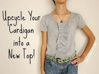 Have an old cardigan you're tired of? Revamp it into a top! .  Free tutorial with pictures on how to recycle a recycled sweater in under 120 minutes using needle and thread or sewing machine, scissors, and cardigan. How To posted by Agy.  in the Sewing section Difficulty: Simple. Cost: Absolutley free. Steps: 2
