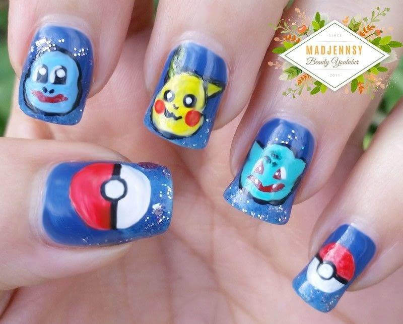 Pokemon nail art how to paint a nail painting beauty on cut pokemon nail art prinsesfo Choice Image