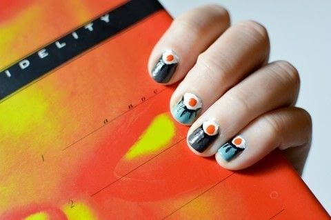 Create this eye half moon design easily! .  Free tutorial with pictures on how to paint a character nail in under 75 minutes by nail painting with nail polish, dotting tool, and nail brush. Inspired by books. How To posted by Shelby Nicole.  in the Beauty section Difficulty: 3/5. Cost: 3/5. Steps: 4