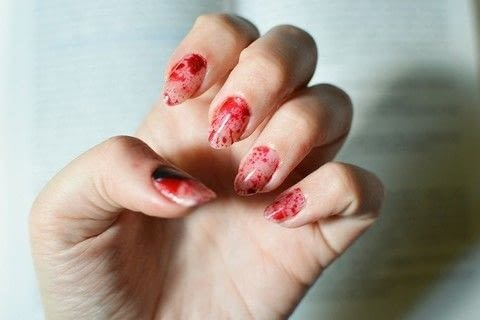 American Psycho inspired nails .  Paint a bloody nail in under 30 minutes by nail painting with nail polish, nail polish, and top coat nail polish. Creation posted by Shelby Nicole.  in the Beauty section Difficulty: Easy. Cost: 3/5.