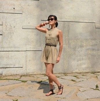 Transform an a-line top into a playsuit .  Free tutorial with pictures on how to sew a romper in under 120 minutes by dressmaking with top and sewing machine. How To posted by Style Wilderness.  in the Sewing section Difficulty: 4/5. Cost: Cheap. Steps: 3