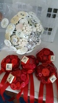 Cute bridesmaids personalised corsages  .  Make a button bouquet in under 180 minutes by hand sewing with felt,  buttons, and scrabble tile. Inspired by weddings. Creation posted by LoupLou.  in the Other section Difficulty: 3/5. Cost: 3/5.