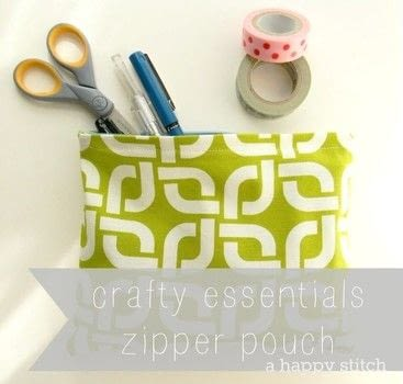Whip up an easy zipper pouch! .  Free tutorial with pictures on how to make a zipper pouch in under 25 minutes by sewing with matching thread, canvas fabric, and zipper. How To posted by A Happy Stitch (Melissa Q.).  in the Sewing section Difficulty: Simple. Cost: Cheap. Steps: 7