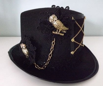 Cheap Hat Make Over .  Make a hat in under 30 minutes by not sewing with hat, lace, and brooch back. Inspired by steampunk. Creation posted by PixieFey.  in the Other section Difficulty: Easy. Cost: Cheap.
