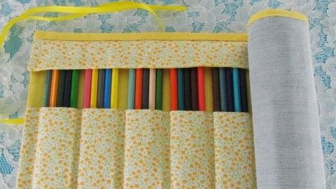 Make this pencil case! .  Free tutorial with pictures on how to make a pens & pencils in under 40 minutes using scissors, pins, and silicone glue. Inspired by yellow. How To posted by bora FAZER.  in the Home + DIY section Difficulty: 3/5. Cost: Cheap. Steps: 1