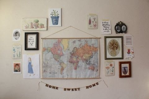 Add a vintage vibe to your space with this hanging map tutorial! .  Free tutorial with pictures on how to make a hanging in under 20 minutes Inspired by vintage & retro. How To posted by Vintagonista Vintage.  in the Home + DIY section Difficulty: Simple. Cost: Cheap. Steps: 5