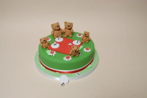 A cute cake for a christening or toddler birthday or anyone who loves teddybears! .  Free tutorial with pictures on how to decorate a character cake in under 60 minutes by baking and decorating food Inspired by birthdays and bears. Recipe posted by Ann P.  in the Recipes section Difficulty: 3/5. Cost: 3/5. Steps: 10