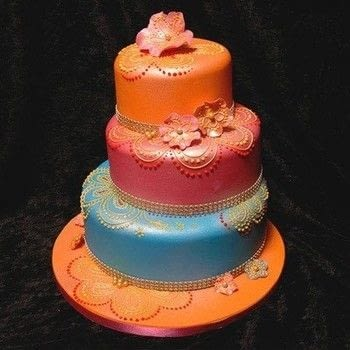 Using henna style patterns and bright colours  .  Free tutorial with pictures on how to bake a tiered cake in under 30 minutes by decorating food with balls. Inspired by cake. Recipe posted by Ann P.  in the Recipes section Difficulty: 3/5. Cost: 3/5. Steps: 1