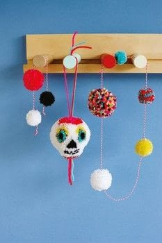 Pompomania .  Free tutorial with pictures on how to make a pom poms in under 25 minutes by yarncrafting with acrylic yarn, pompom maker, and scissors. Inspired by skulls & skeletons, sugar skulls, and day of the dead. How To posted by Quadrille.  in the Yarncraft section Difficulty: Simple. Cost: Cheap. Steps: 9
