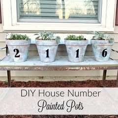 Diy House Number Painted Pots