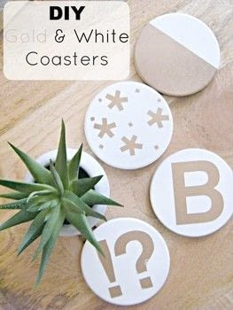 DIY Gold and White Coasters .  Free tutorial with pictures on how to paint a painted coaster in under 60 minutes using coasters, spray paint, and stickers. How To posted by Kristina B.  in the Decorating section Difficulty: 3/5. Cost: No cost. Steps: 3