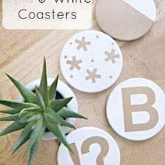 Diy Gold And White Coasters