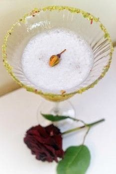 A gin flip cocktail with rose liqueur, pistachio, egg white and lemon .  Free tutorial with pictures on how to mix a flip cocktail in under 5 minutes by mixing drinks with pistachios, sugar, and ice. Recipe posted by Cat Morley.  in the Recipes section Difficulty: 3/5. Cost: 3/5. Steps: 9