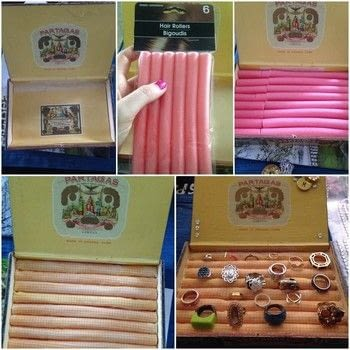 Easy DIY ring storage box! .  Free tutorial with pictures on how to make a ring storage unit in under 30 minutes using cigar box, glue, and fabric scraps. How To posted by HuntressFashion.  in the Home + DIY section Difficulty: Simple. Cost: Absolutley free. Steps: 5