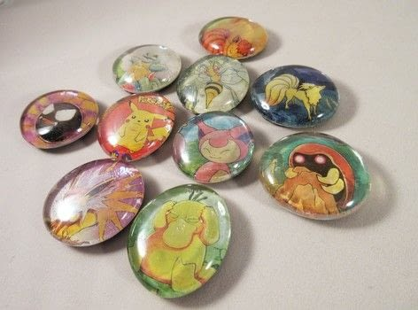 Glass magnets .  Make a photo magnet in under 20 minutes by creating with decoupage glue, magnet, and glass cabochon. Inspired by pokemon. Creation posted by Lindsay A.  in the Other section Difficulty: Easy. Cost: Cheap.
